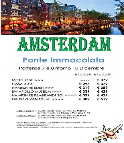 Volantino immacolata amsterdam viaggi di gruppo la for Amsterdam offerte viaggi