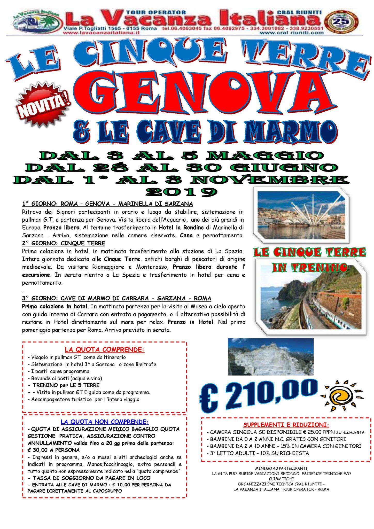 le cinque terre - GENOVA € 210,00 - Viaggi di Gruppo | La Vacanza ...
