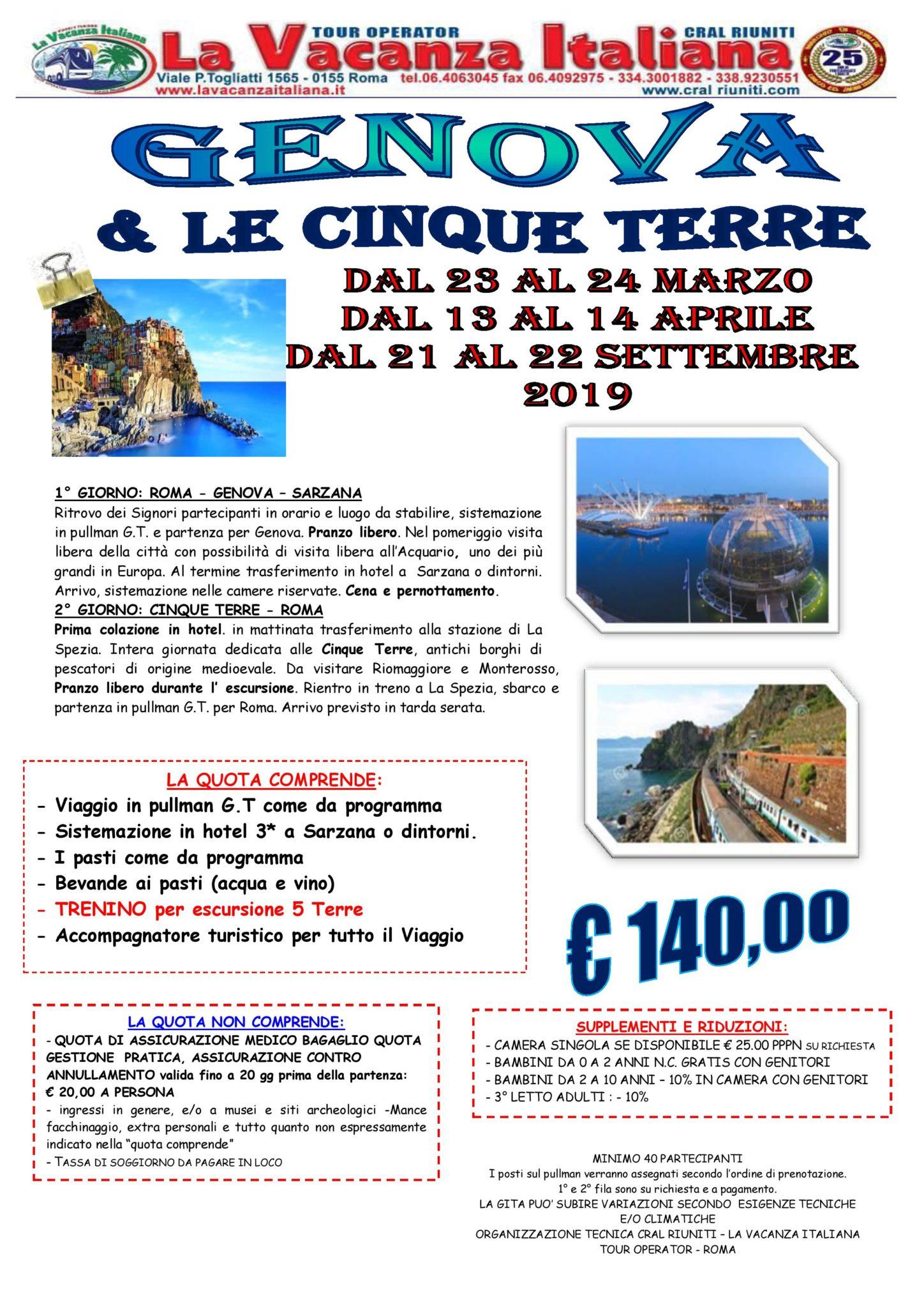 Genova & le cinque terre € 140,00 - Viaggi di Gruppo | La Vacanza ...